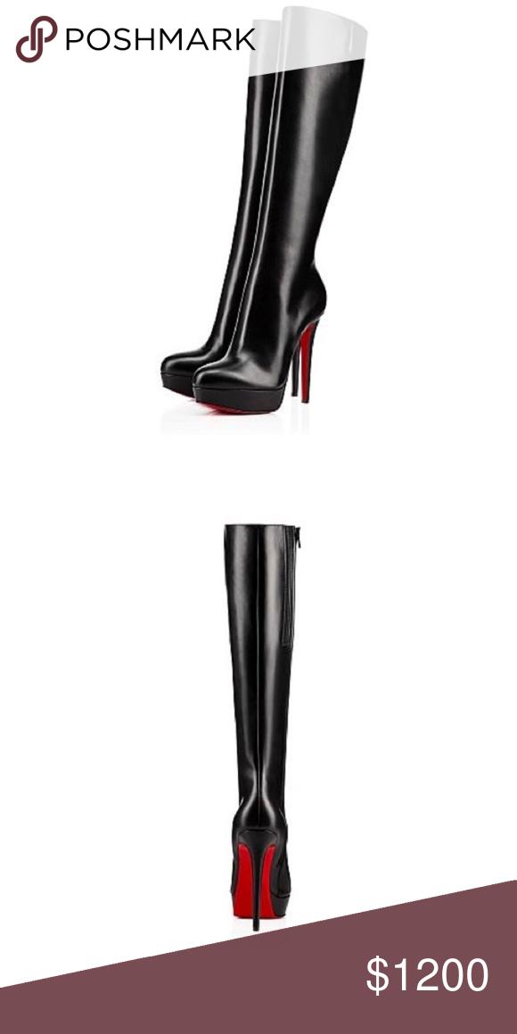 602c12fa0704 Christian Louboutin Bianca Botta Authentic Christian Louboutin Bianca botta  140mm knee high boots. Almond toe