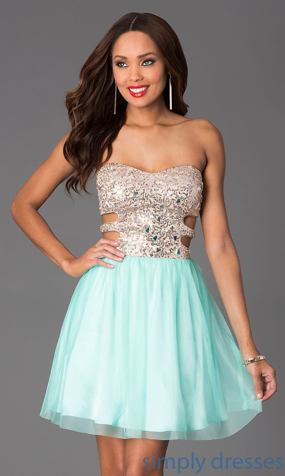 Dress short strapless sweetheart dress with side cut outs simply