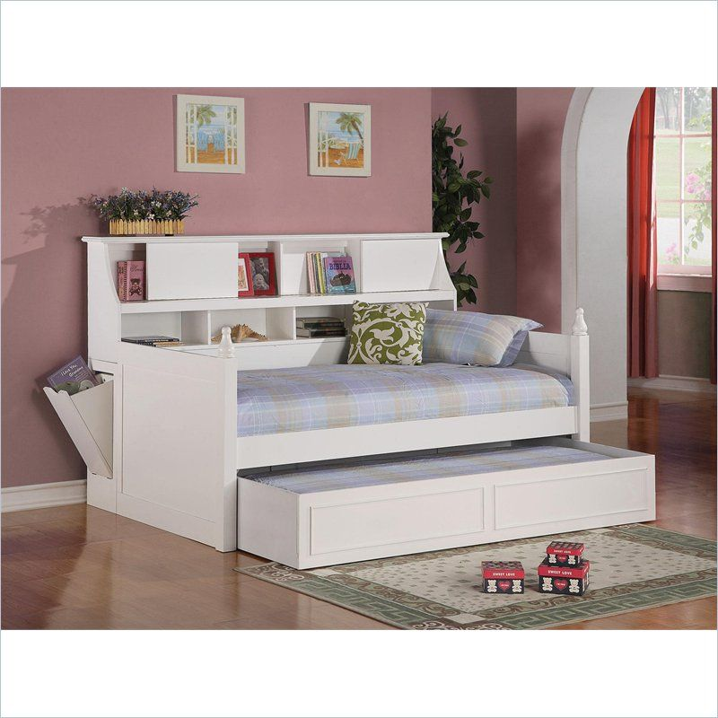 Coaster Daisy Bookcase Wood Daybed with Under-Bed Trundle in White -  300480-400489 - Coaster Daisy Bookcase Wood Daybed With Under-Bed Trundle In White