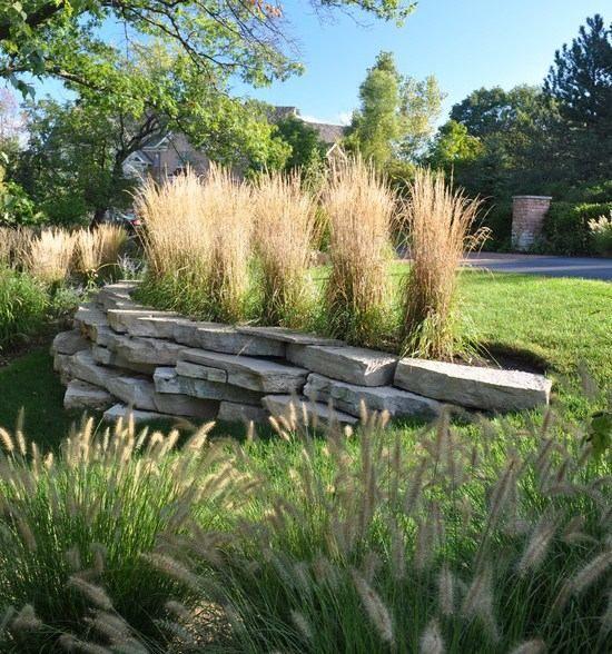 Gräser Im Garten Gestaltungsideen stützmauer rasenfläche pasgras lenputzergras garten