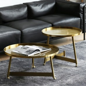 Stylish Gold Coffee Table Small Medium Large Round Rolling Side Table With Wheels Tray Top In 2020 Gold Coffee Table Coffee Table Round Gold Coffee Table