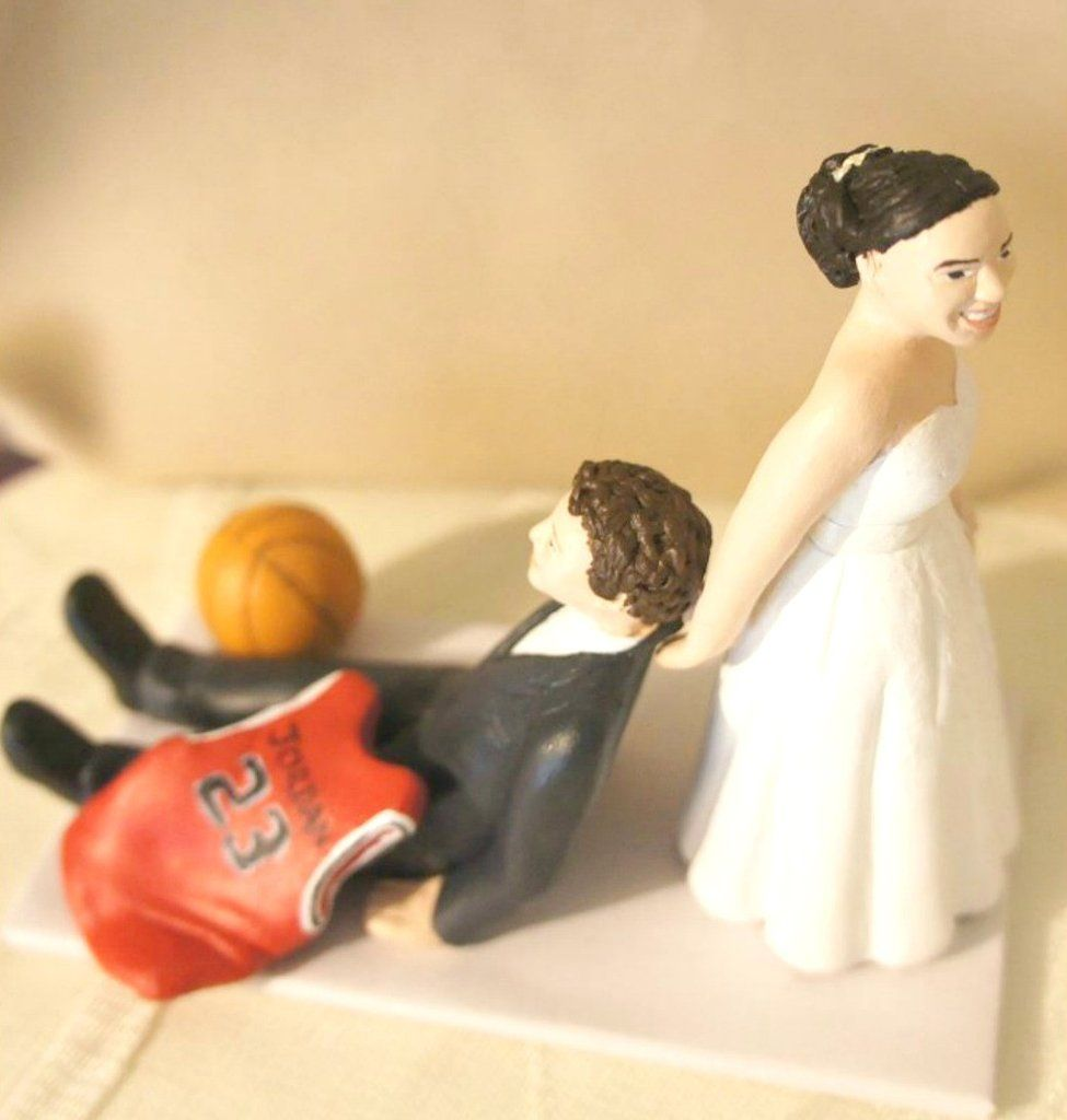 Funny Unique Humourous Realistic Custom Sports Wedding Cake Topper ...