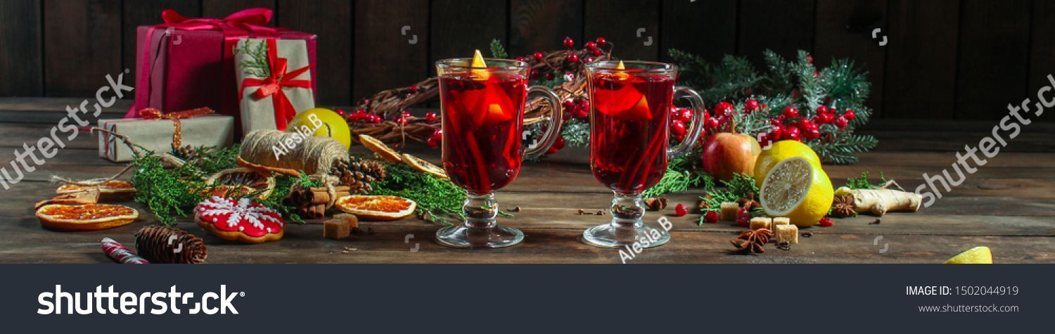 mulled wine, fragrant drink and festive mood atmosphere - concept New Year, Christmas. food background. copy space #Sponsored , #Aff, #festive#mood#atmosphere#drink
