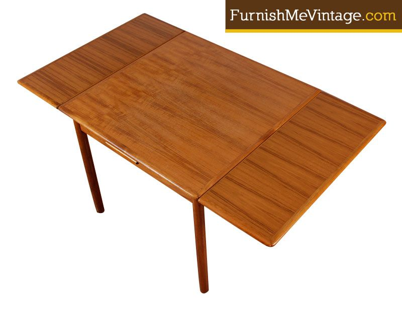 Refinished Mid Century Expanding Small Danish Table Midcentury