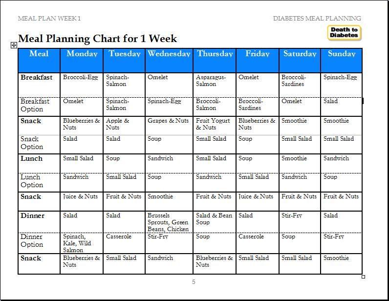 Diabetes Meals Reverse Diabetes Ex Diabetic Diabetic Meals Planner Meal Planning Template Meal Planning Chart