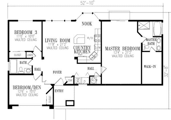 1296 square feet 3 bedrooms 2 batrooms on 1 levels for 3 bedroom open floor house plans