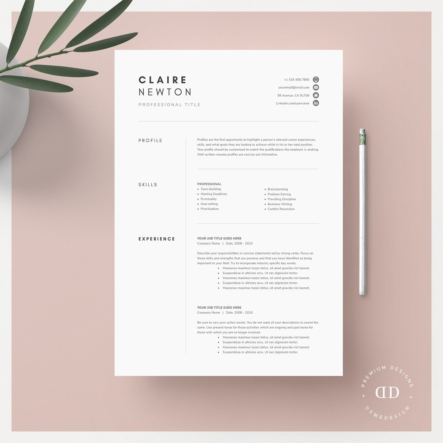 1, 2 and 3 Page Word Resume Template , sponsored, desire