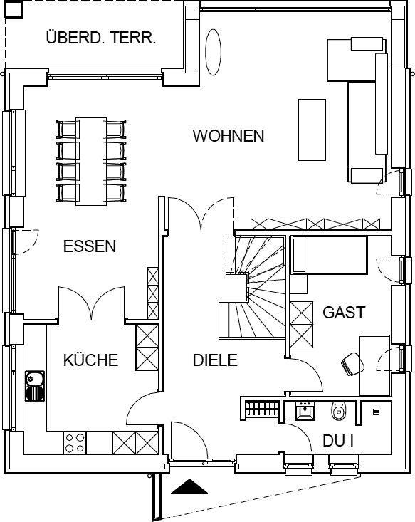 das erdgeschoss dieser stadtvilla als variante hausbau. Black Bedroom Furniture Sets. Home Design Ideas