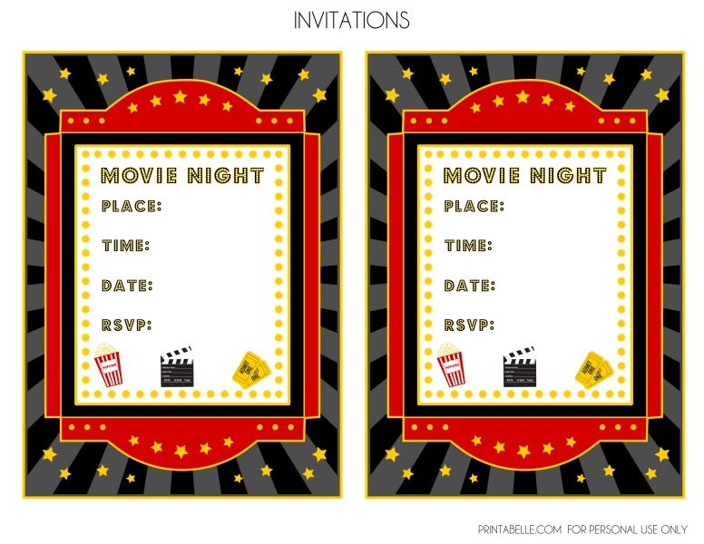 picture about Movie Night Invitations Free Printable called Cost-free Online video Night time Occasion Printables by way of Printabelle Video clip