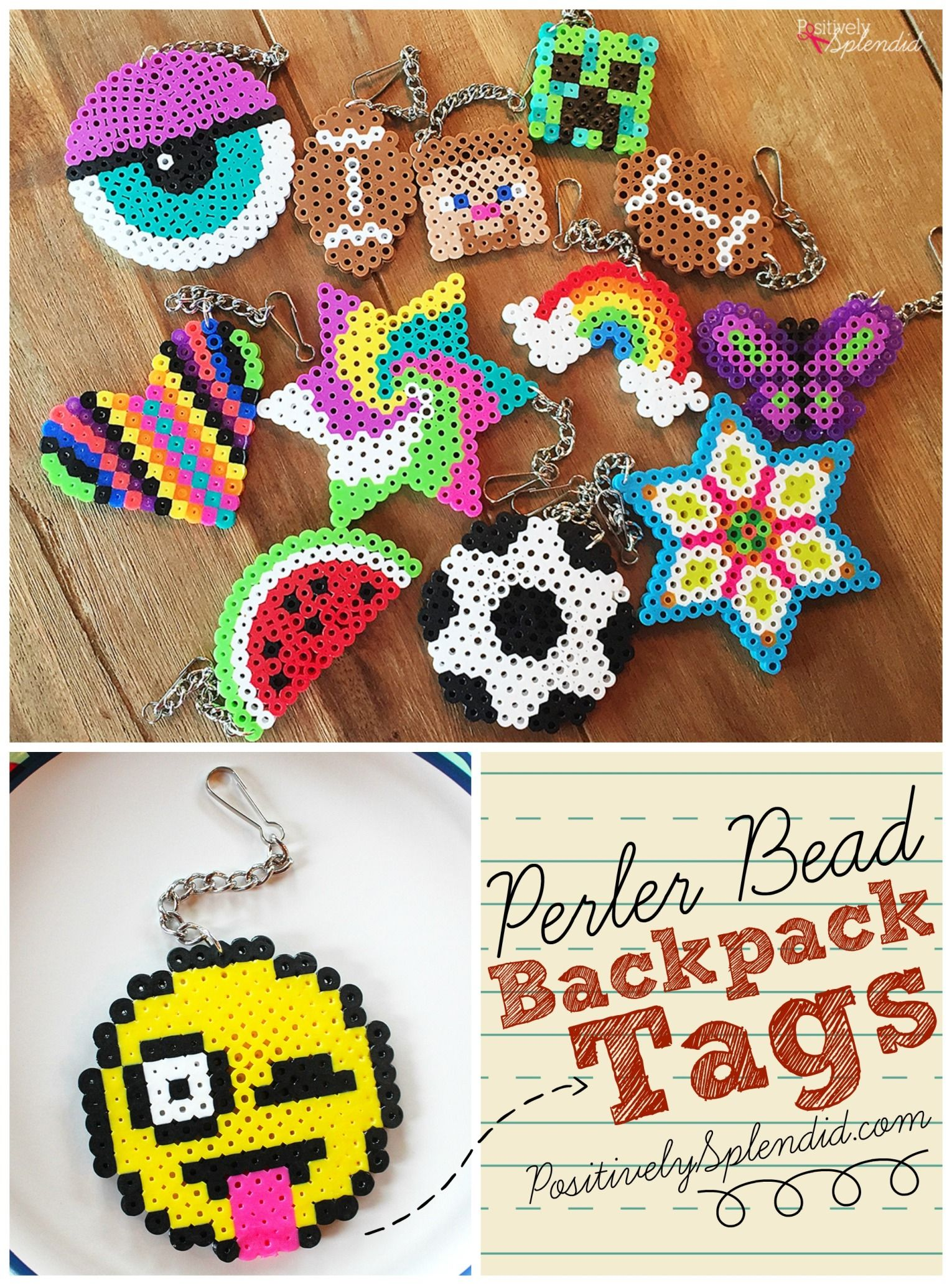 Plastic beads for crafts - A Craft For Kids Perler Bead Backpack Tags Made With Perler Beads Chain