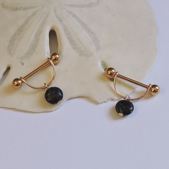 Gold Nipple Rings ONE or a SET of 2 Nipple Jewelry Barbell