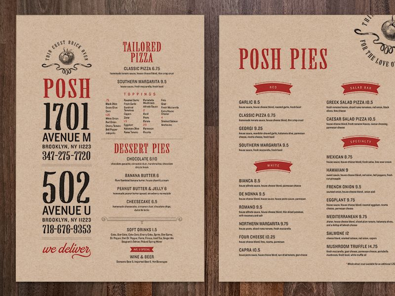Posh Pizza Menus Pizza Menu Design Pizza Menu Menu Card Design