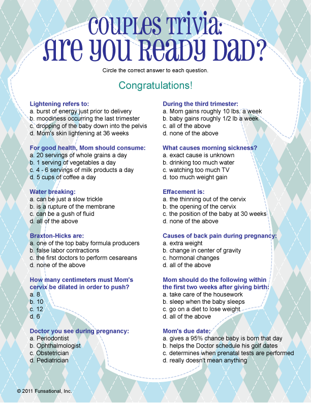 Couples Trivia Are You Ready Printable Baby Shower Games Baby