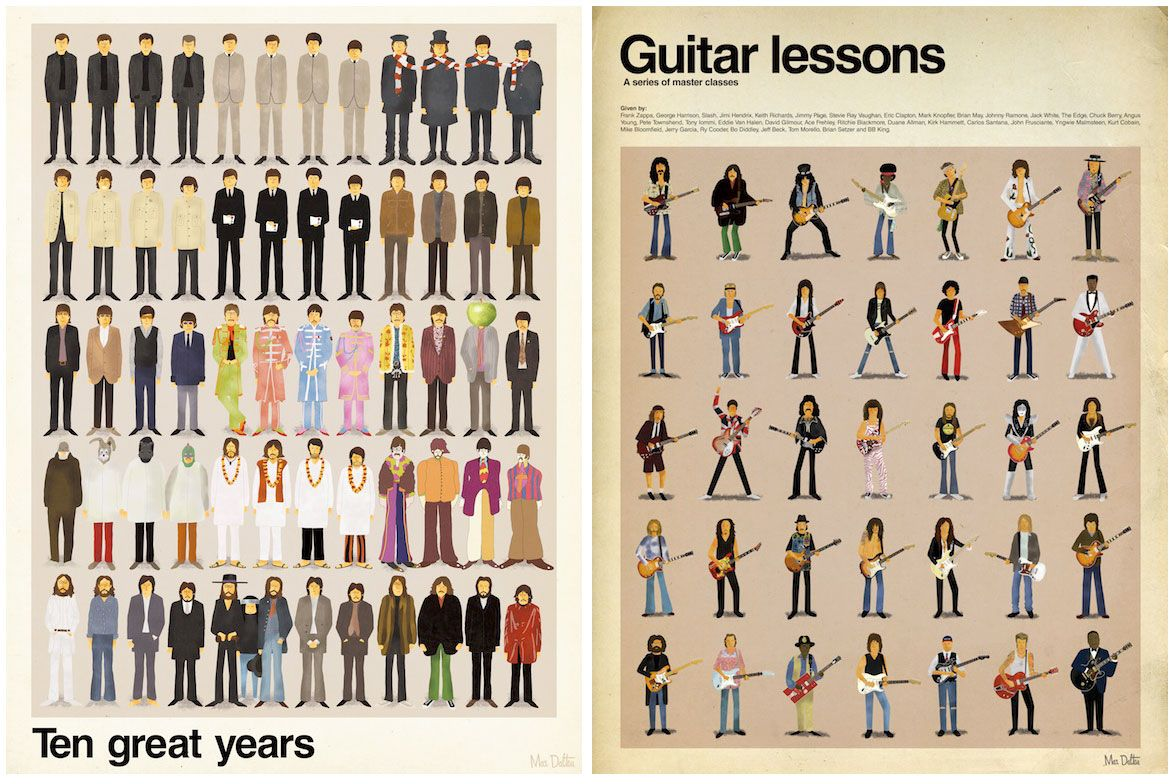 """""""Ten Great Years"""" & """"Guitar Lessons"""" are limited edition prints featuring the art of Max Dalton, and available from SpokeArt. Looks poerfect as gist for your Beatles-fans or musically-inclined friends, methinks! With an edition of 250 each design, these hand-numbered prints are re-releases"""