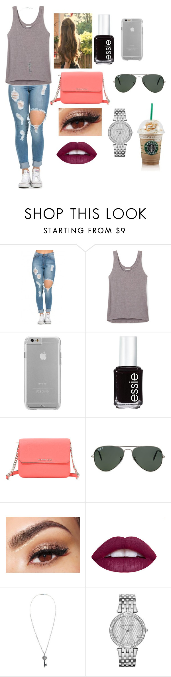 """""""Untitled #736"""" by amarianamichelle ❤ liked on Polyvore featuring mode, Rebecca Minkoff, Case-Mate, Essie, Michael Kors, Ray-Ban, Lancôme, Aéropostale, starbucks et lazy"""