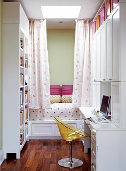I love this idea for the guest bedroom. Except that we have a double bed in there. And it's quite a lot like a library right now. But I love it.