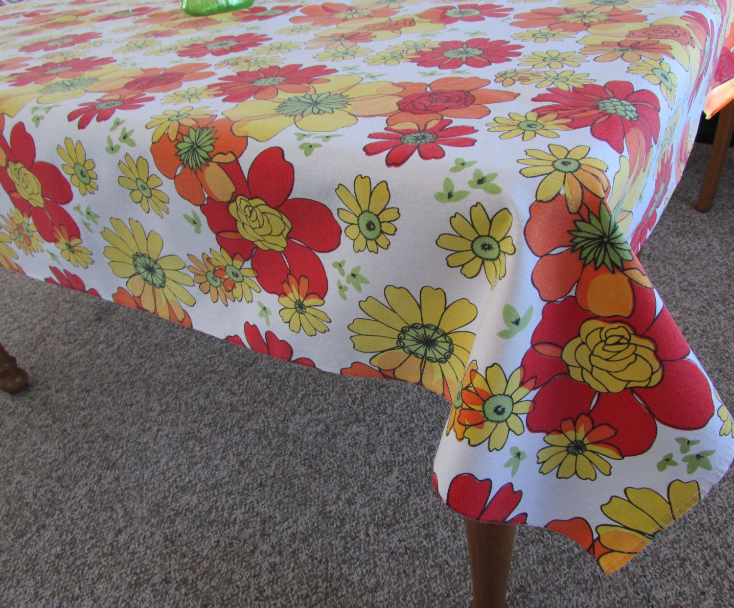 Large Vintage 70s Floral Tablecloth   Red, Yellow And Orange Flowers    Cotton Tablecloth