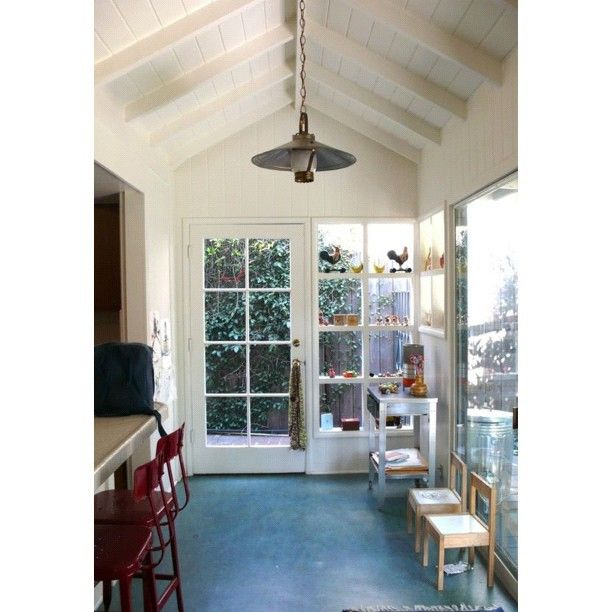 Sunroom. Painted Concrete Floors