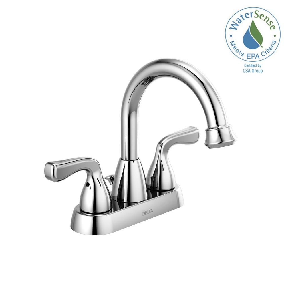 Delta Foundations 4 In Centerset 2 Handle Bathroom Faucet In Chrome 25911lf The Home Depot Bathroom Faucets Bathroom Sink Faucets Sink Faucets