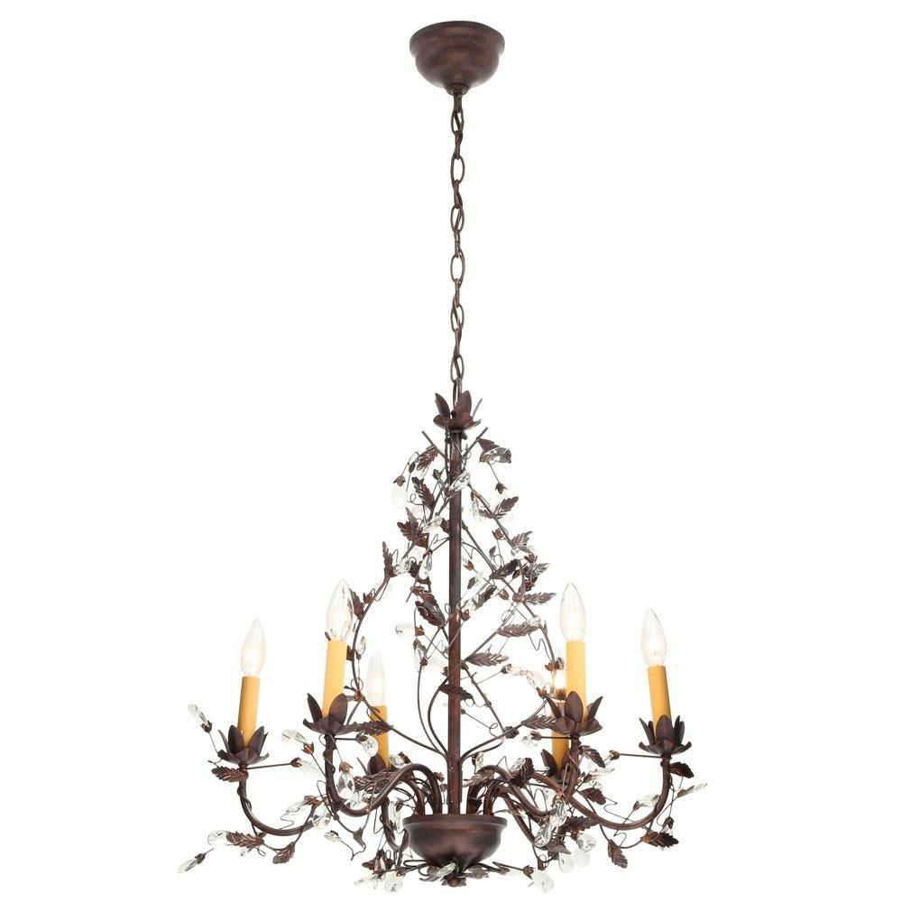 Hampton bay 6 light tuscan copper hanging chandelier y35046 163 hampton bay 6 light tuscan copper hanging chandelier y35046 163 the home arubaitofo Gallery