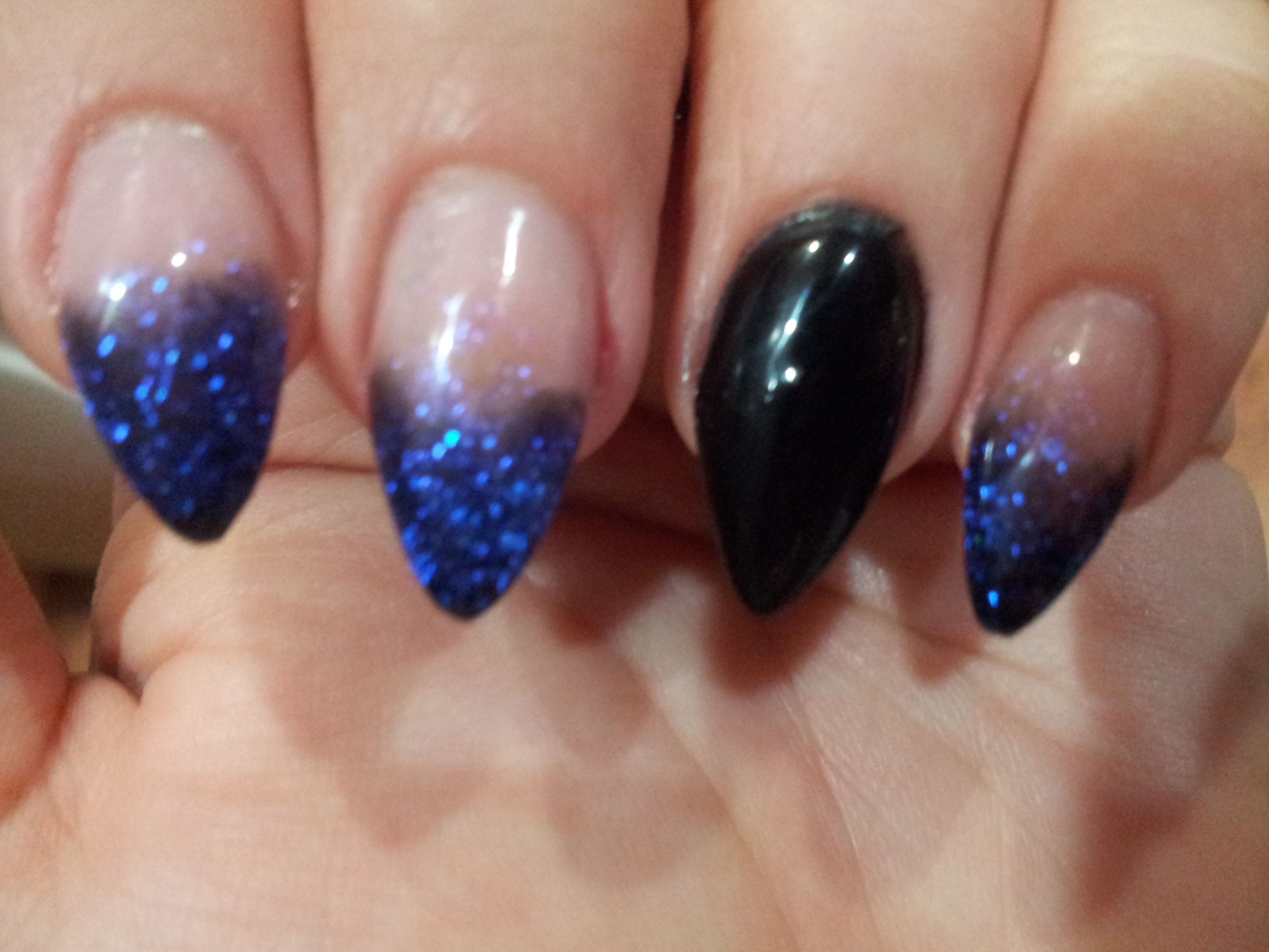 Pre Halloween Pointy Nails | Blue nail art, Pointy nails