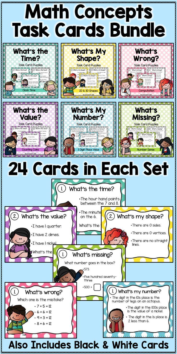 Place Value, Geometric Shapes, Money, Number Sense, Time Task Cards ...