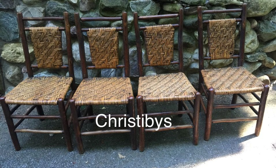 Set Old Hickory panel back side chairs. SOLD Christibys