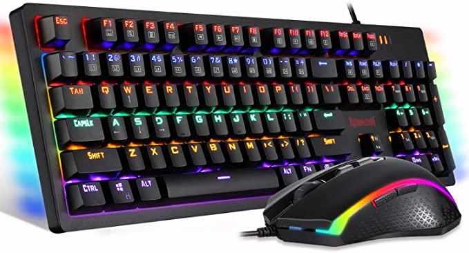 Amazon Com Redragon S117 Gaming Keyboard Mouse Combo Mechanical Rgb Rainbow Backlit Keyboard Brown Switches Rgb Gaming Mouse Fo In 2021 Gaming Mouse Keyboard Pc Gamer