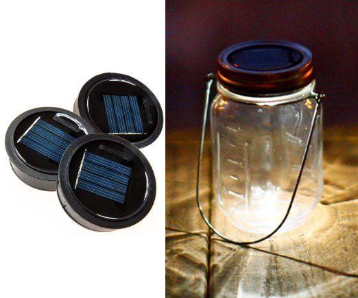 3 Pack - Solar Mason Jar Lid Insert - LED Mason Jar Solar Light for Glass Mason Jars and Garden Decor Solar Lights