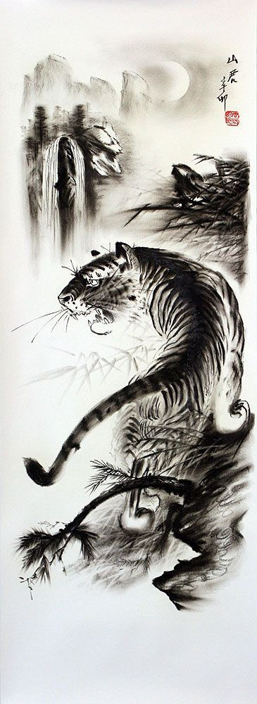 Chinese Tiger Art | Black & White Tiger Drawing | Любимое ...