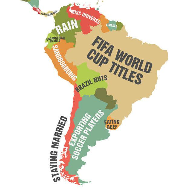 South america this map showing what each country leads the world south america gumiabroncs Gallery