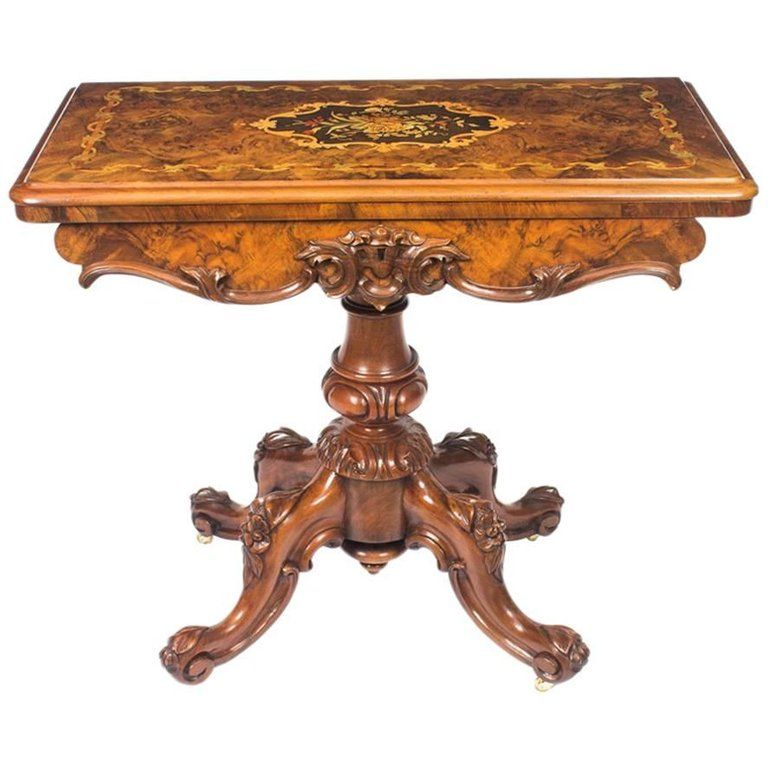 Antique Victorian Burr Walnut And Marquetry Card Table 19th Century Fantastic Furniture Carved Furniture Furniture