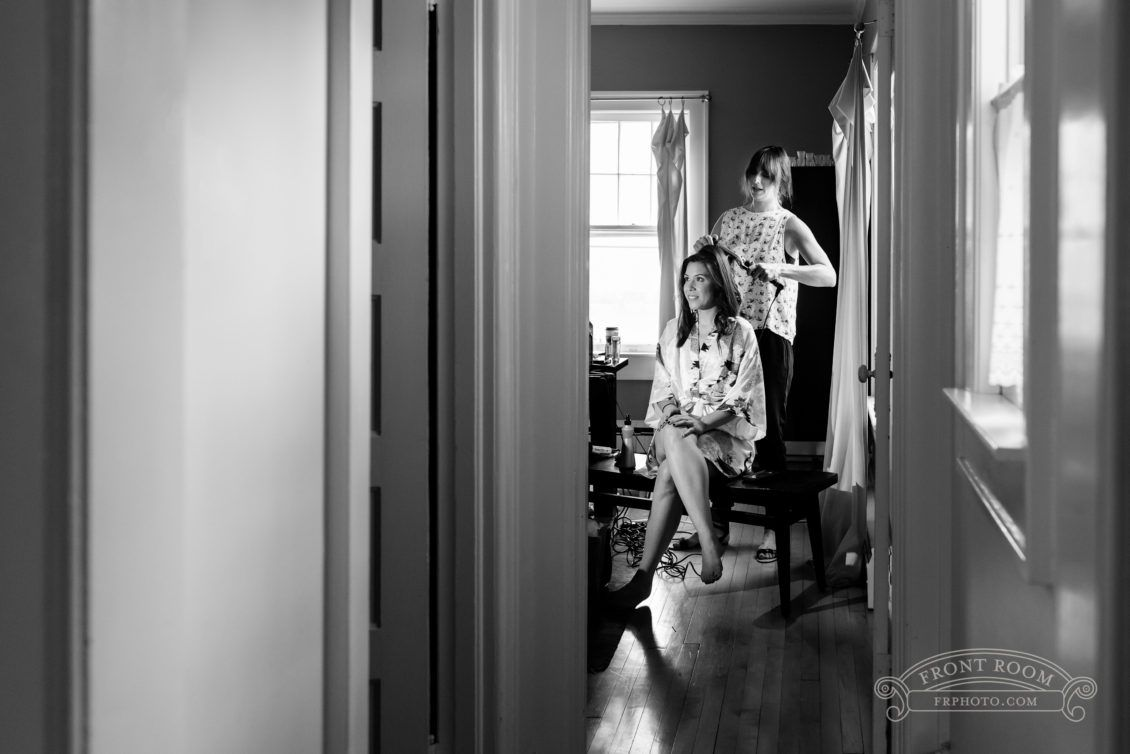 The bride getting ready at home on a beautiful summer wedding day, by Front Room Photography