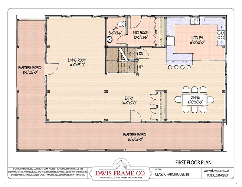 classic farmhouse 1b davis frame first floor - Classic Farmhouse Plans