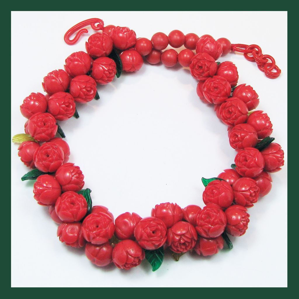 Art Deco Era Red Rose Celluloid Necklace