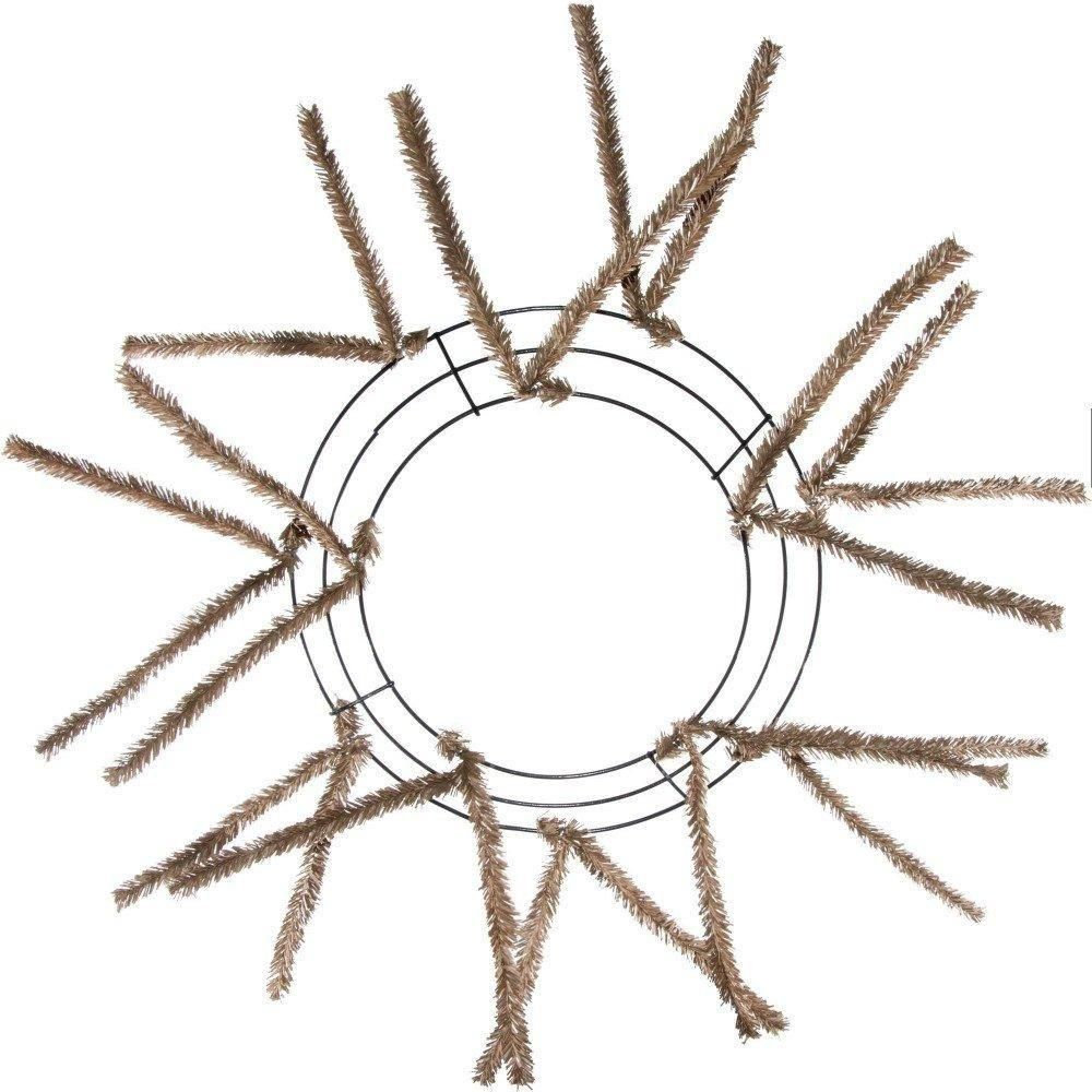 10 Wire Wreath Frame With Pre Attached Tan Burlap Colored Pencil Tinsel Ties Used To Make A 20 Finished Work Wreath Forms Work Wreath Making Mesh Wreaths