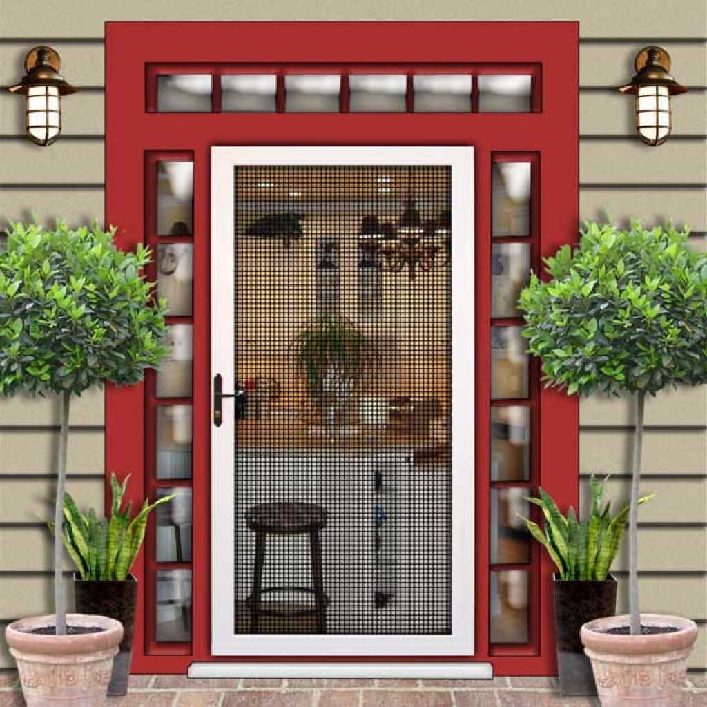Mid Century Modern Security Screen Doors With Rectanggle Transom