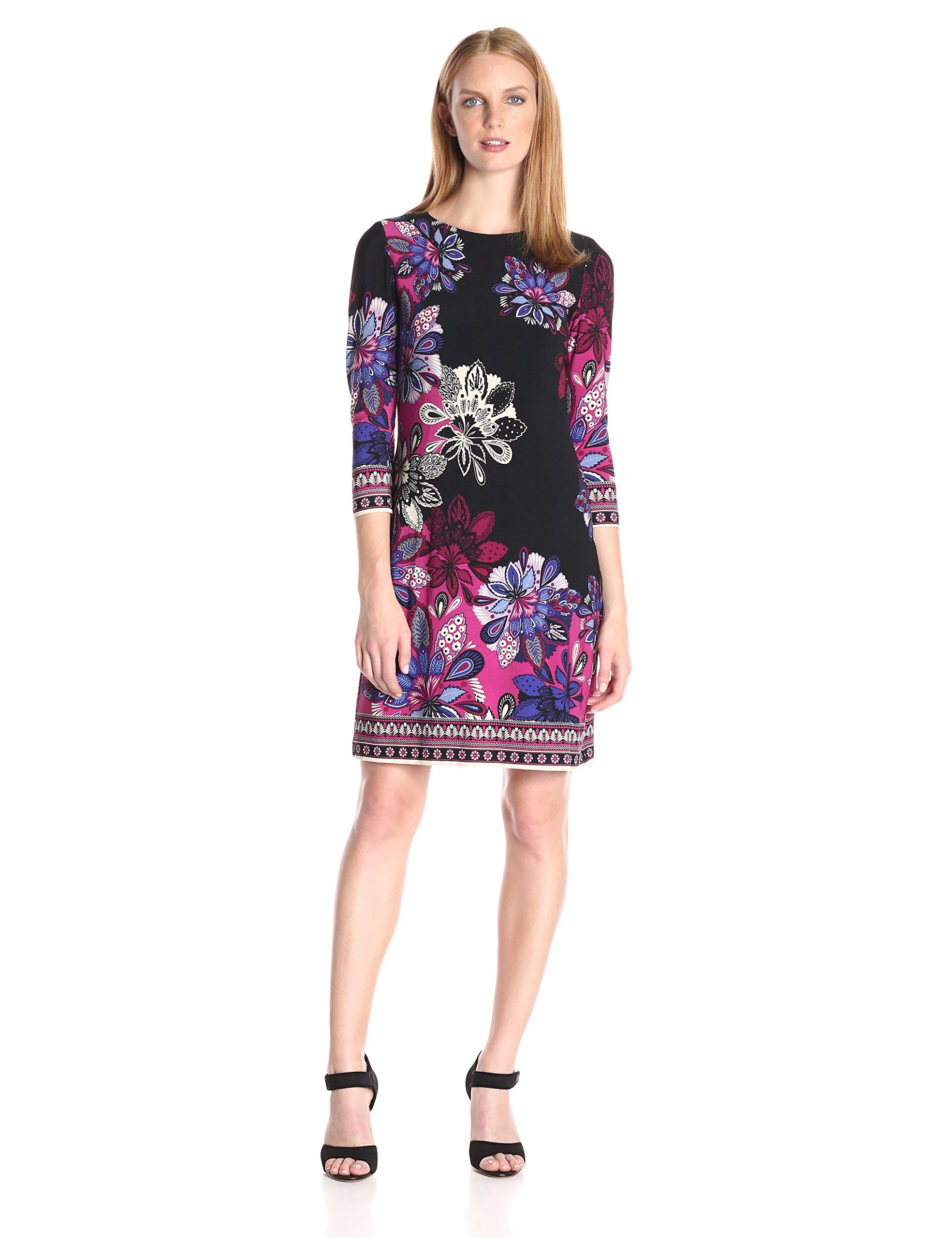 Donna Morgan Women's Sleeve Shift: sleeve shift printed jersey is a great  wear to work dress for the working woman.