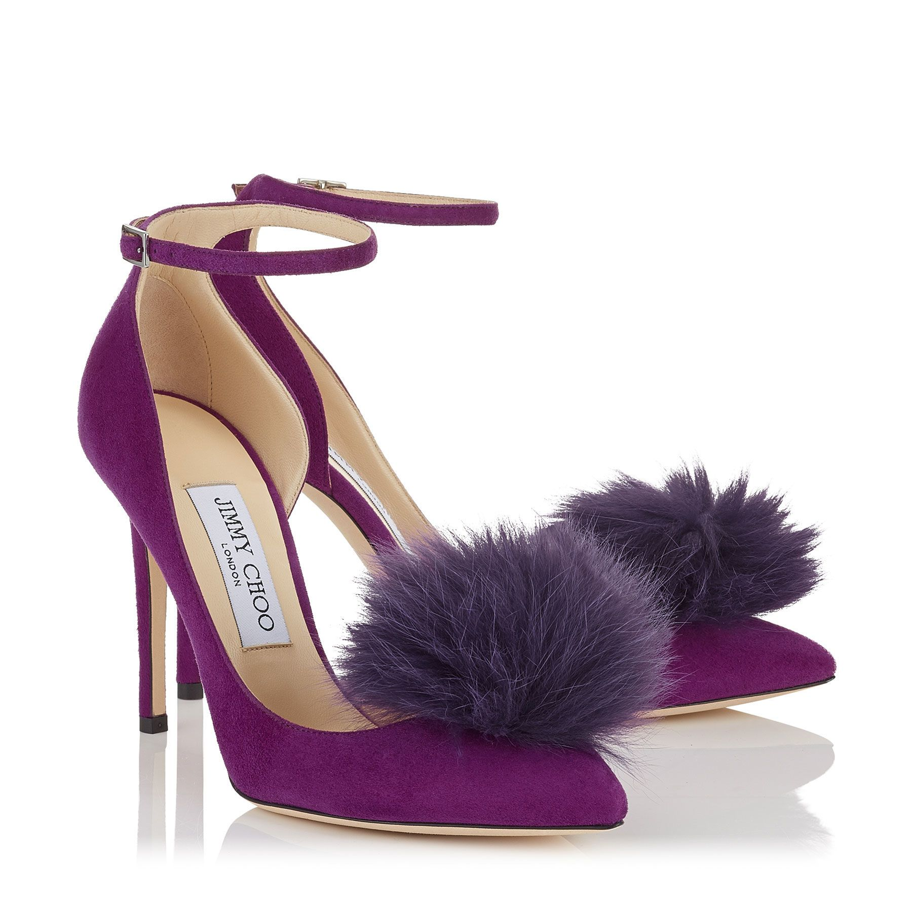 Madeline Suede Pointy Toe Pumps with Clip on Pom Poms | Rosa 100 | Cruise 17