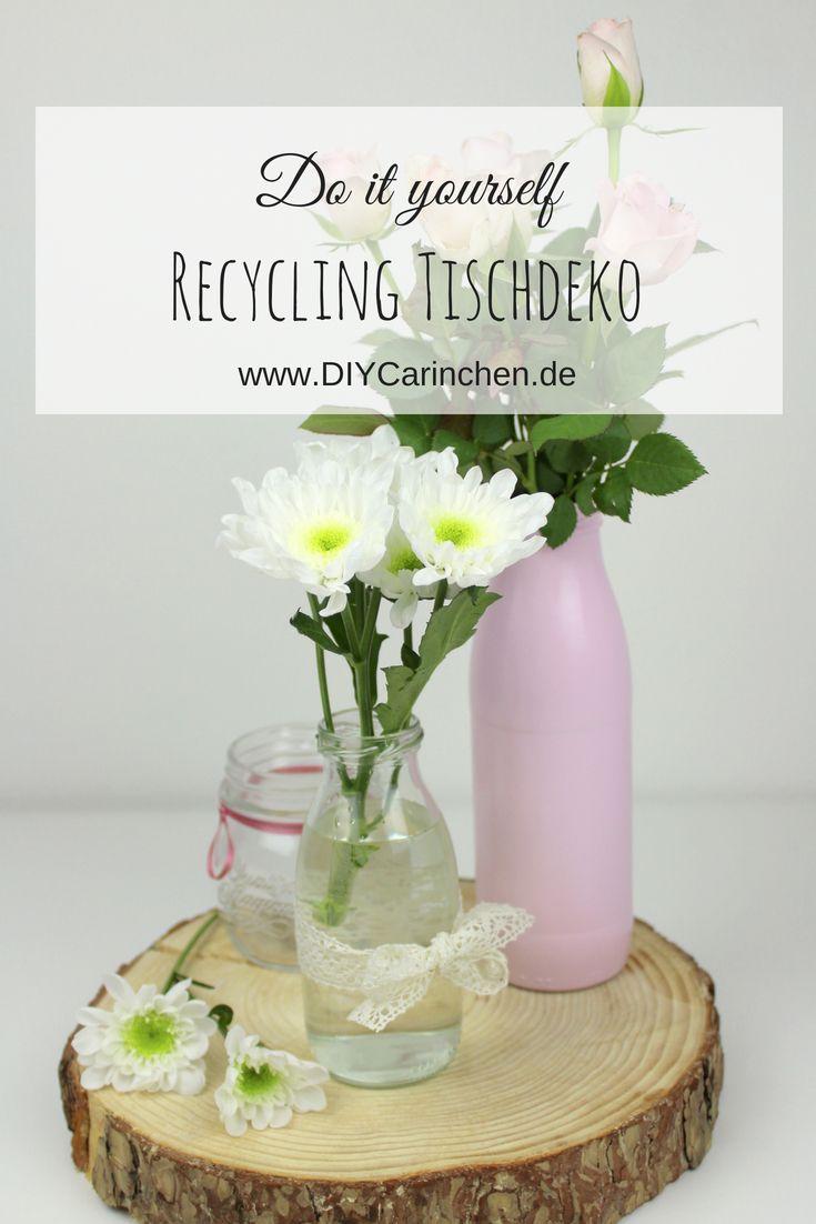 wohnideen dekoration do it yourself, diy selbstgemachte, günstige tischdeko aus milchflaschen - geniale, Design ideen