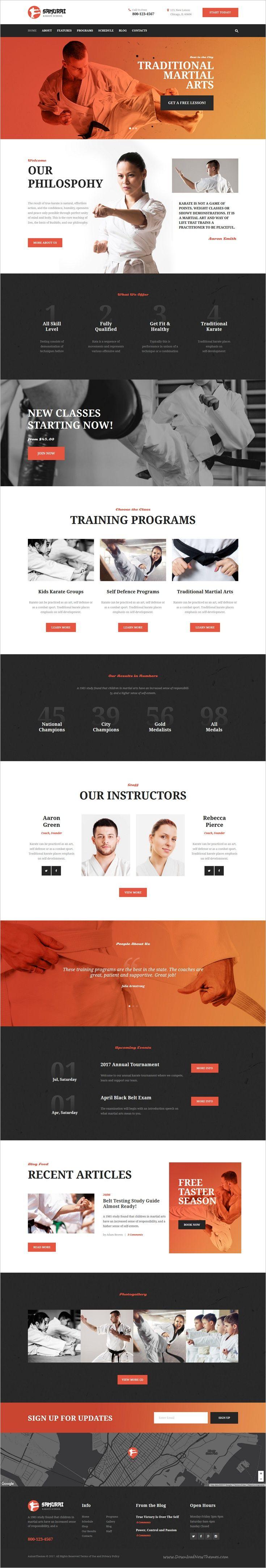 Samurai Karate School And Fitness Center Wordpress Theme Karate Karate School Personal Trainer Website