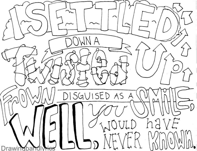 I Draw Band Lyrics Word Drawings Lyric Drawings Coloring Books