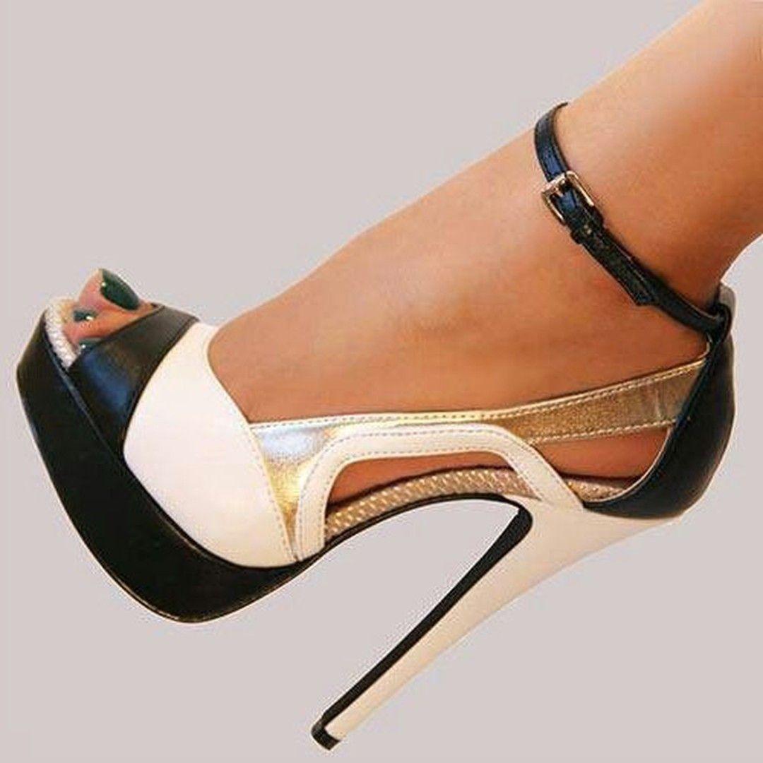 White Contrast Color Dress Sandals