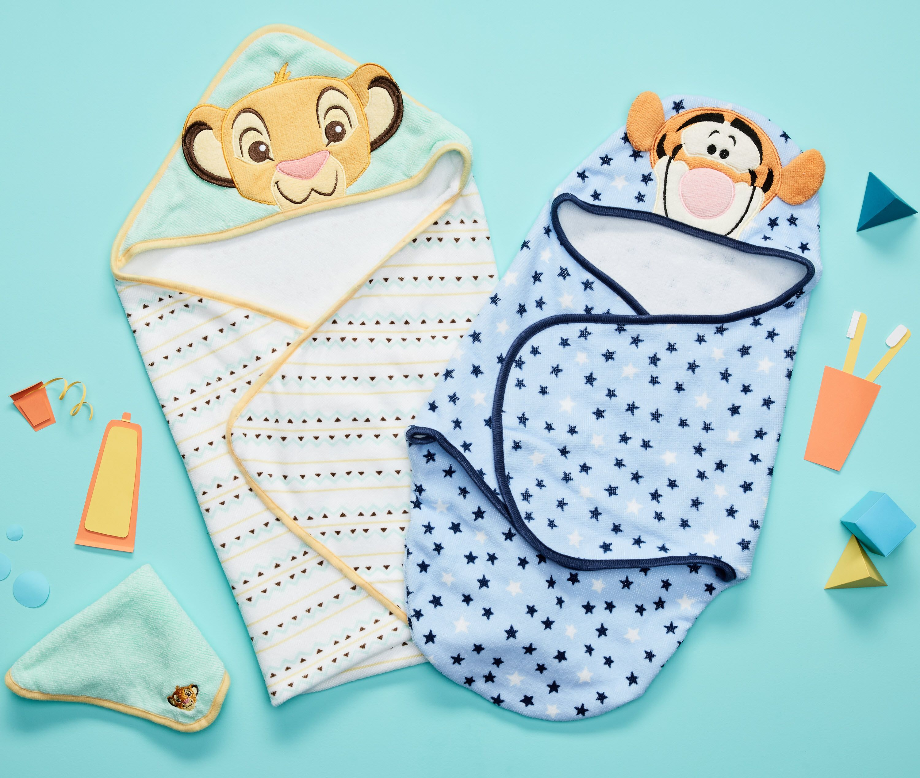 New Disney Baby embroidered hooded bath swaddles and hooded towel ...
