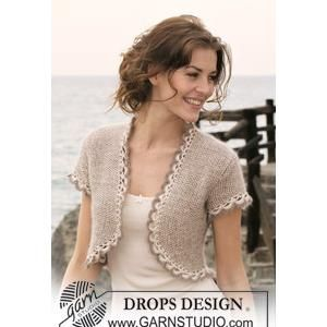 "knitting pattern for bolero | Knitted Ladies' Bolero Pattern in Seed St in DROPS ""Cotton Viscose ..."