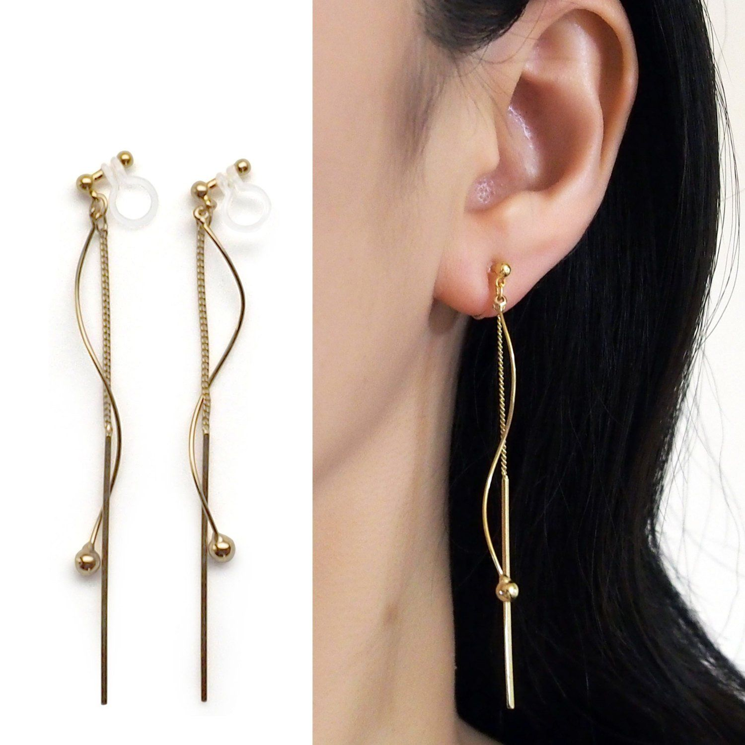 Dangle Gold Wave Bar Clip On Earrings Threader Invisible Etsy