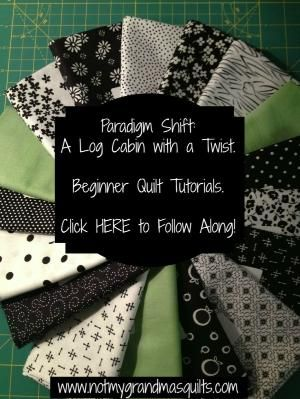 Tutorials creating a stunning black and white modified log cabin quilt with lime green accents. Easy to Make and Follow Along! by misty