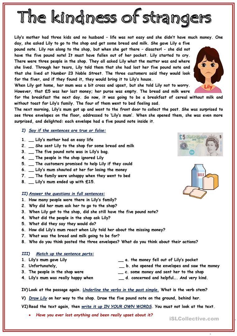 Rc The Kindness Of Strangers English Esl Worksheets For Dis Reading Comprehension Activities Reading Comprehension Worksheets Reading Comprehension For Kids [ 1079 x 763 Pixel ]