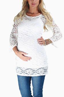 Ivory Lace 3/4 Sleeve Maternity Blouse