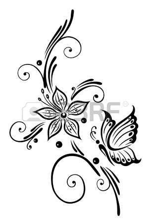 Flores Negras Con La Mariposa Arte Tribal Photo Otletek